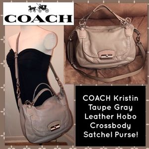 Coach Kristen Taupe Gray Hobo Crossbody Satchel